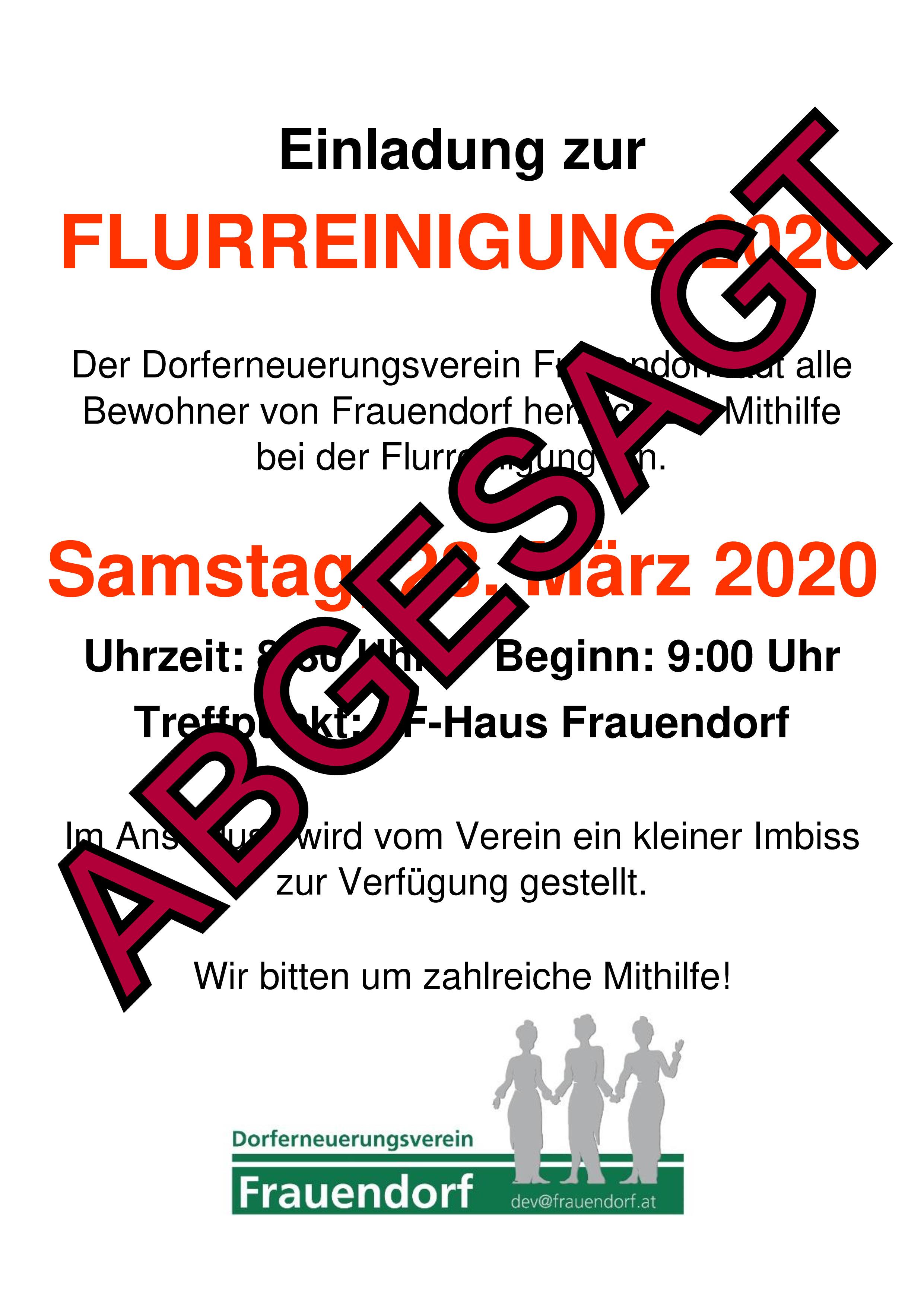 ABSAGE FLURREINIGUNG
